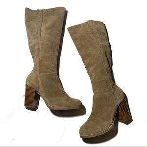 Nine West Tan Suede Boots with Chunky Brown Heel